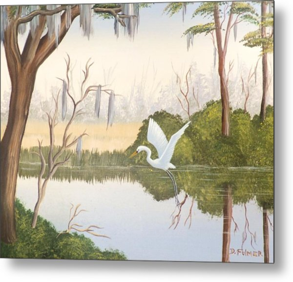Egret In Flight 1 Metal Print