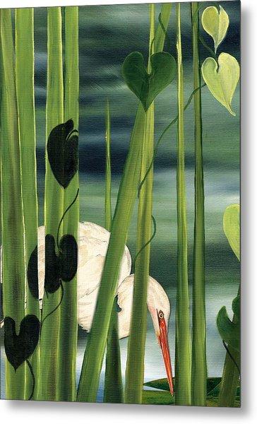 Egret In Reeds Metal Print