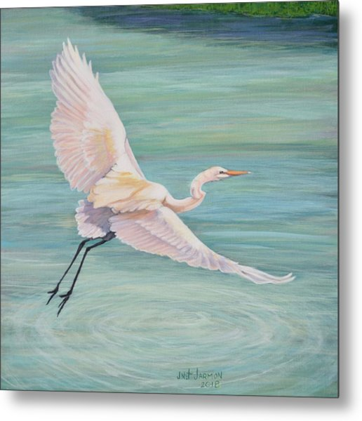 Metal Print featuring the painting Egret by Jeanette Jarmon