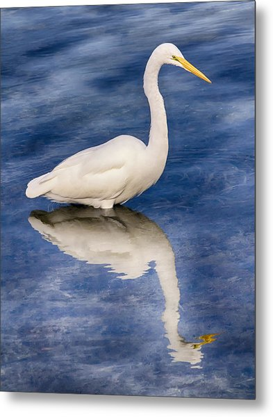 Egret Reflection On Blue Metal Print