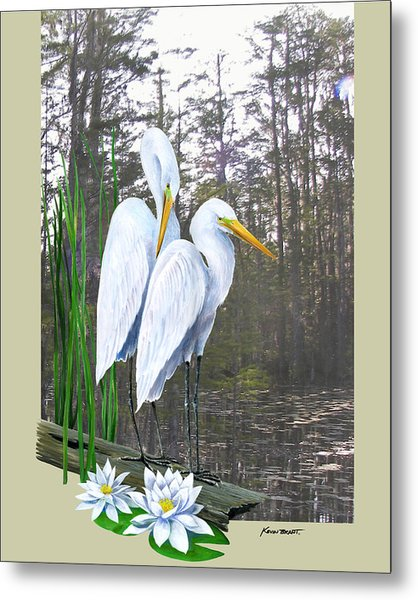 Egrets And Cypress Pond Metal Print