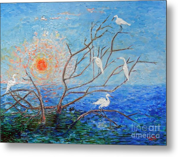 Egrets At Sunrise Metal Print