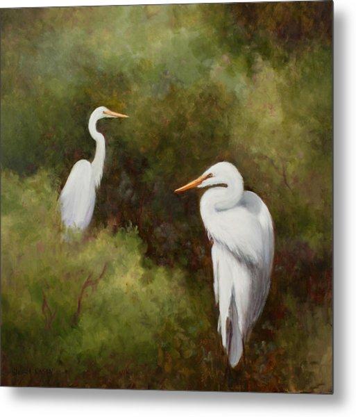 Egrets Roosting Metal Print