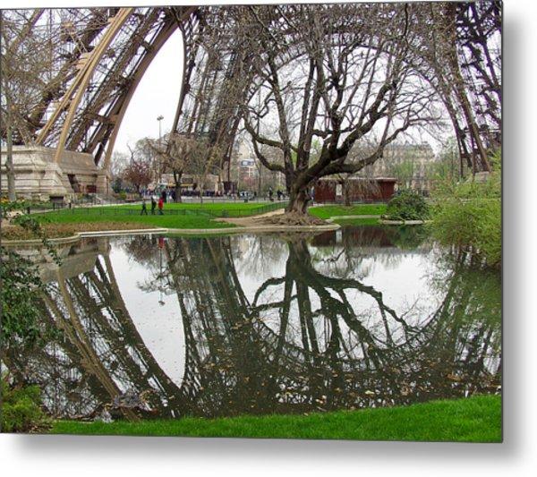 Eiffel Base Reflection Metal Print