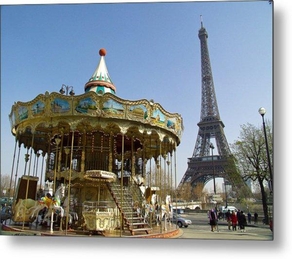 Eiffel Carousel Metal Print