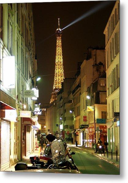 Eiffel In The Street Metal Print