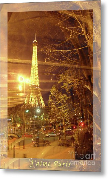 Eiffel Tower By Bus Tour Greeting Card Poster Metal Print