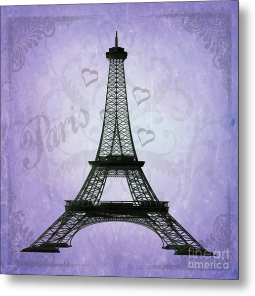 Eiffel Tower Collage Purple Metal Print