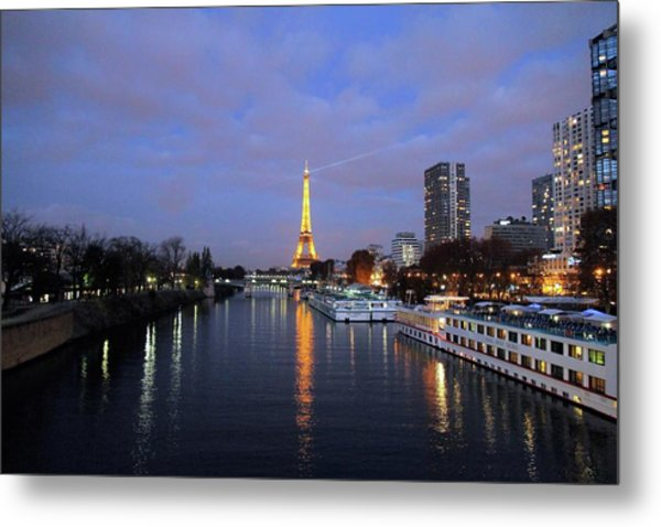 Eiffel Tower Over The Seine Metal Print
