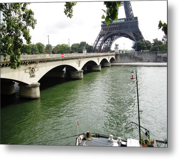 Eiffel Tower Seine River II Paris France Metal Print