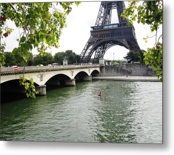 Eiffel Tower Seine River Paris France Metal Print