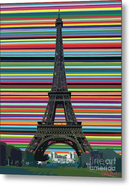 Metal Print featuring the painting Eiffel Tower With Lines by Carla Bank