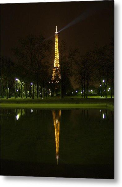 Eiffel Twin Reflection Metal Print