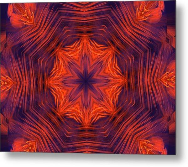 Eight Petal Orange Kaleidoscope Metal Print