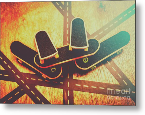 Eighties Street Skateboarders Metal Print