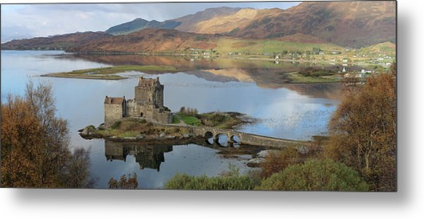 Eilean Donan Castle In Autumn - Panorama Metal Print