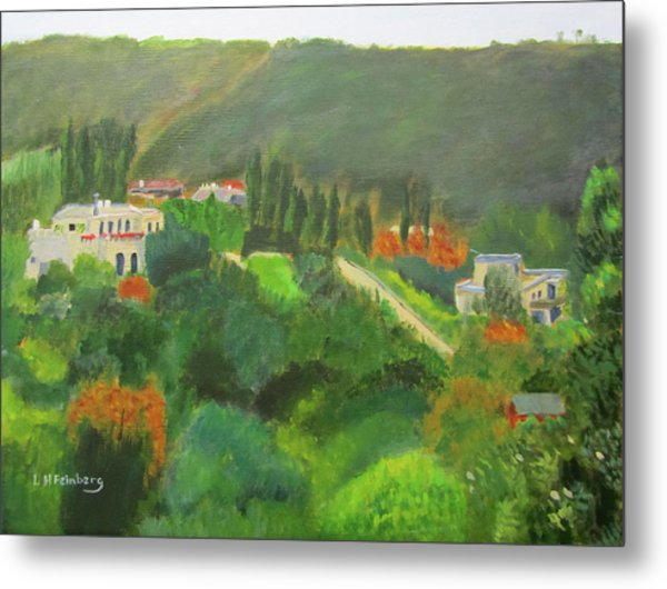 Metal Print featuring the painting Ein Hod View by Linda Feinberg