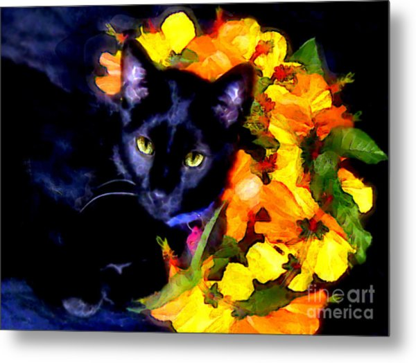 Einstein The Cat Metal Print
