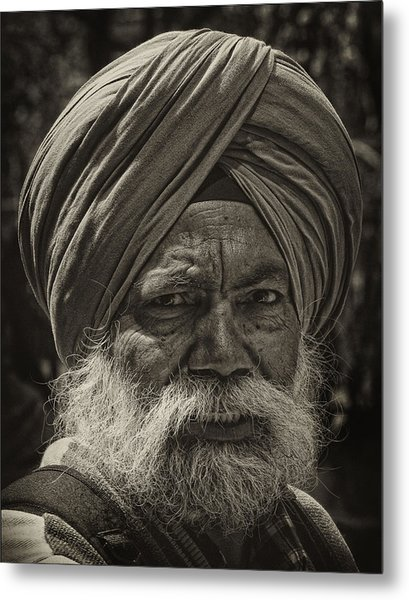 Elderly Sikh  Metal Print