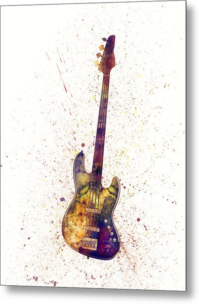 Electric Bass Guitar Abstract Watercolor Metal Print