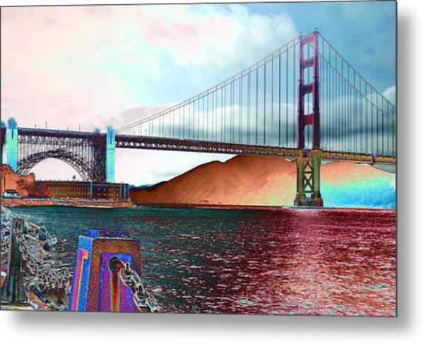 Electric Golden Gate Blue Metal Print
