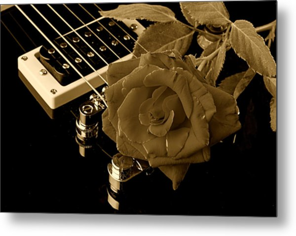 Electric Guitar And Rose Metal Print