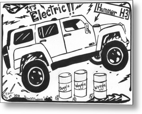 electric hummer maze cartoon drawing by yonatan frimer maze artist 2014 Hummer White electric hummer maze cartoon metal print by yonatan frimer maze artist