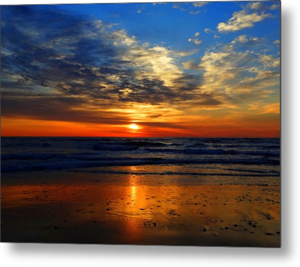 Electric Golden Ocean Sunrise Metal Print