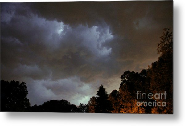 Electric Sky Of Faces Metal Print
