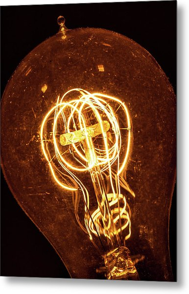 Metal Print featuring the photograph Electricity Through Tungsten by T Brian Jones
