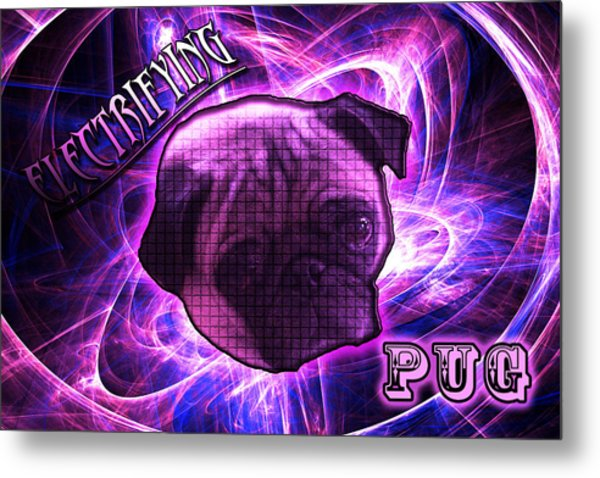 Electrifying Pug Metal Print