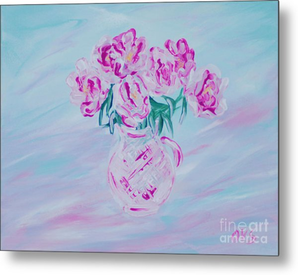 Elegant Bouquet Of Peonies. Joyful Gift. Thank You Collection Metal Print