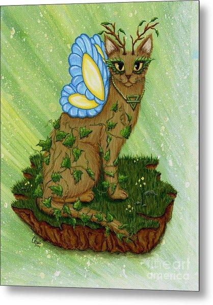 Elemental Earth Fairy Cat Metal Print