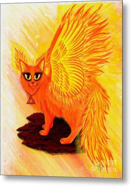 Elemental Fire Fairy Cat Metal Print