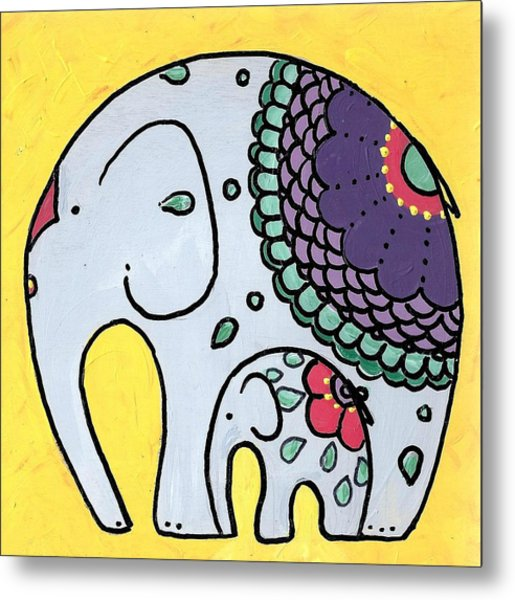 Elephant And Child On Yellow Metal Print