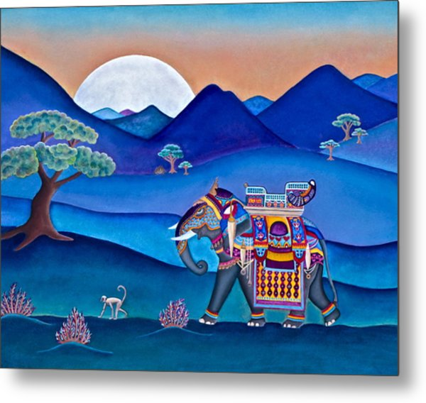 Elephant And Monkey Stroll Metal Print