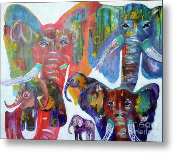 Metal Print featuring the painting Elephant Family by Claire Bull