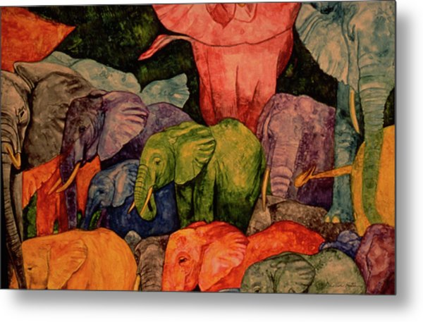 Elephant Party Metal Print