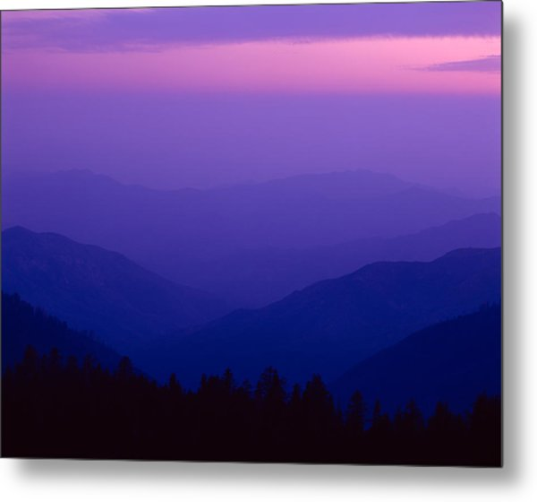 Elevated View Of Valley With Mountains Metal Print