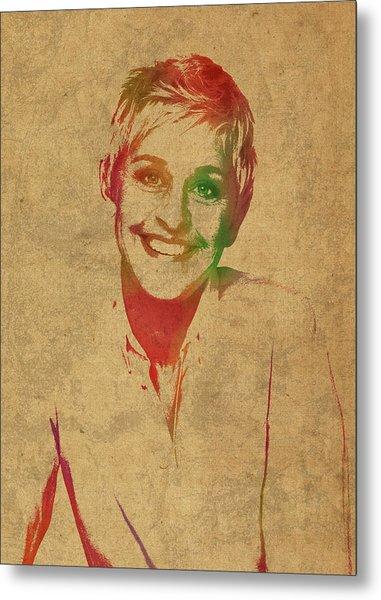 Ellen Degeneres Watercolor Portrait Metal Print