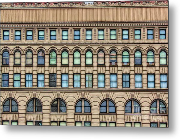 Ellicott Square Building Buffalo Ny Ink Sketch Effect Metal Print