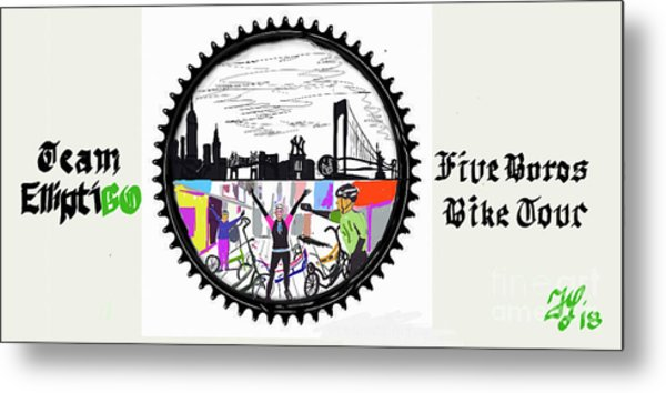 elliptiGO meets the 5 boros bike tour Metal Print