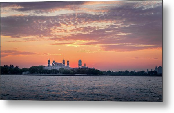Ellis Island At Sunset Metal Print