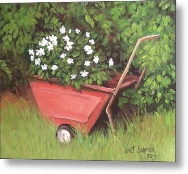 Metal Print featuring the painting Eloise's Garden Cart by Jeanette Jarmon