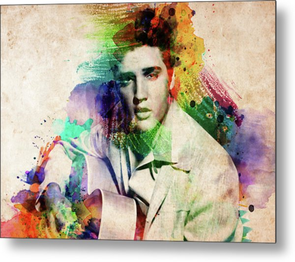 Elvis Presley With Guitar Metal Print
