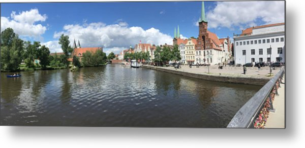 Embankment Of Trave In Luebeck Metal Print