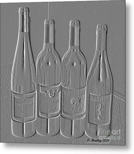 Embossed Wine Bottles Metal Print