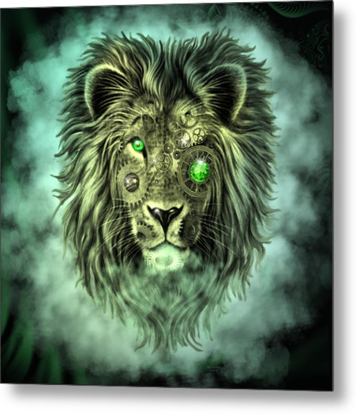 Emerald Steampunk Lion King Metal Print