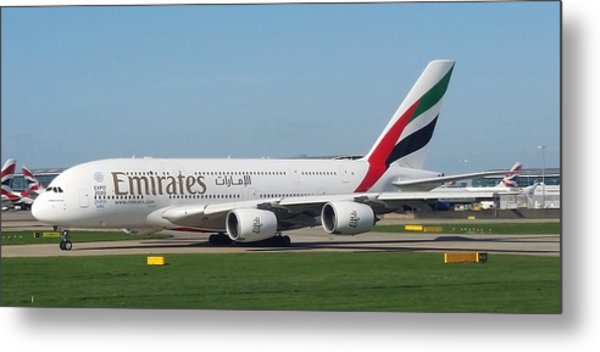 Emirates Airline Airbus A380-800 Metal Print