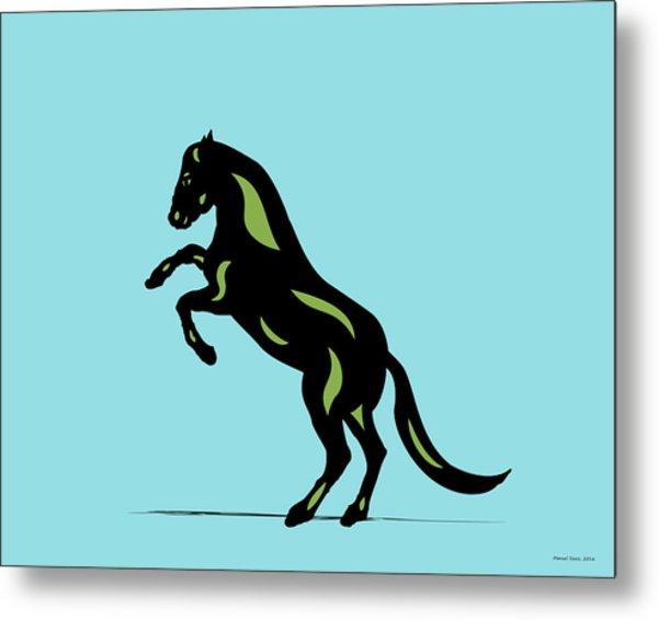 Emma - Pop Art Horse - Black, Greenery, Island Paradise Blue Metal Print